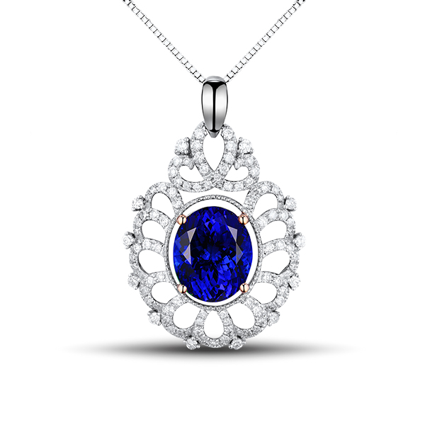 Stunning Royal 4.77 CT Tanzanite Necklace With Diamond Pave