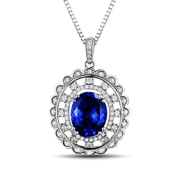 4.20 Carat Twin Halo Oval Tanzanite Diamond Necklace in White Gold