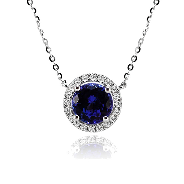 Classic Halo Round 7x7mm 2.13CT Tanzanite Necklace w Diamond Pave