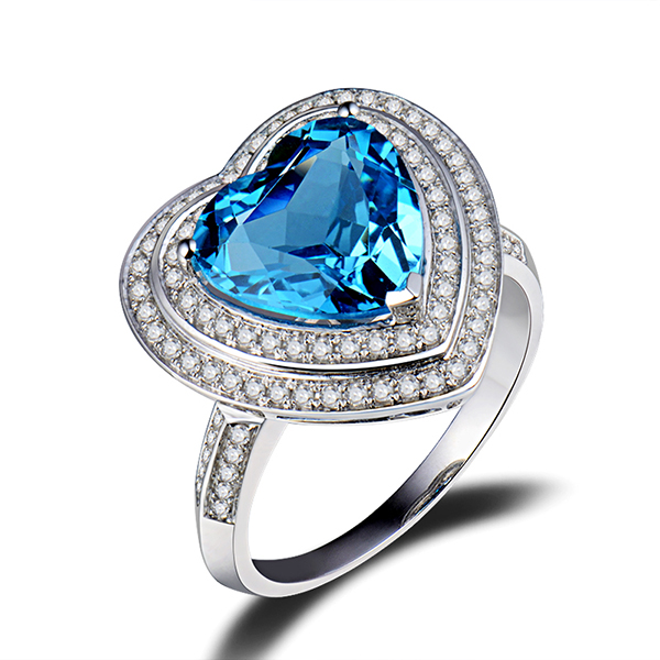 Heart Cut 3.96 CT Natural Topaz Engagement Ring 0.64 CT Diamonds