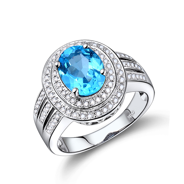 Royal Halo 3.96 CT Oval Blue Topaz Engagement Ring with 0.68 CT Diamond Pave