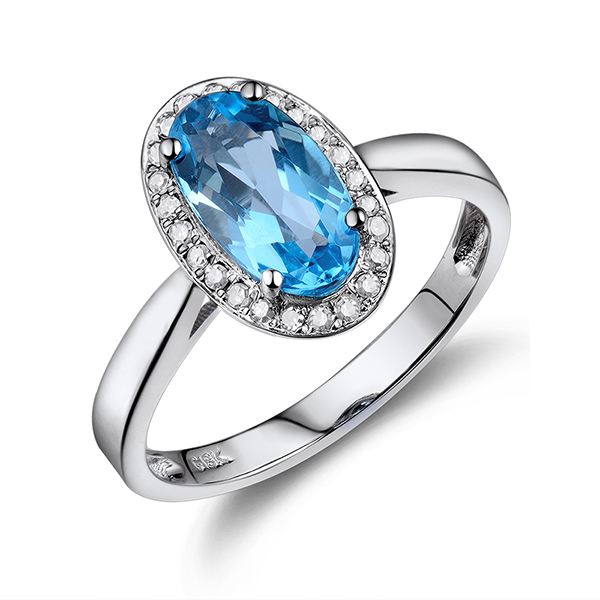 Oval Halo 1.54 CT Blue Topaz & Diamond Engagement Ring