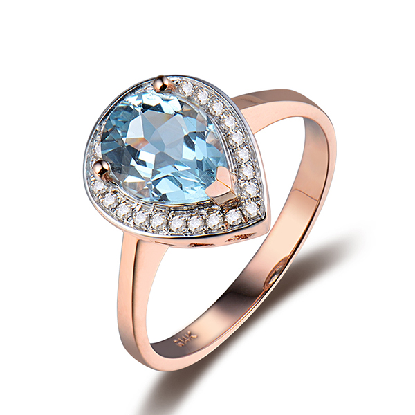 Designer 2.27 CT Pear Cut Topaz Engagement Ring in Rose Gold