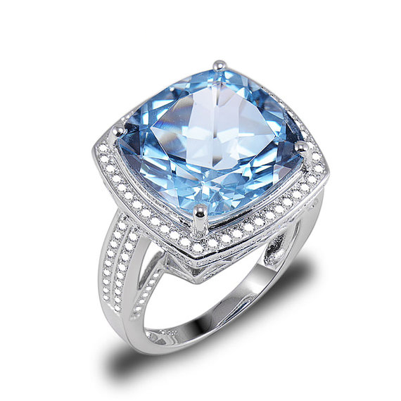 10.23 CT Cushion Cut Topaz Bridal Ring with Diamonds in 14K White Gold