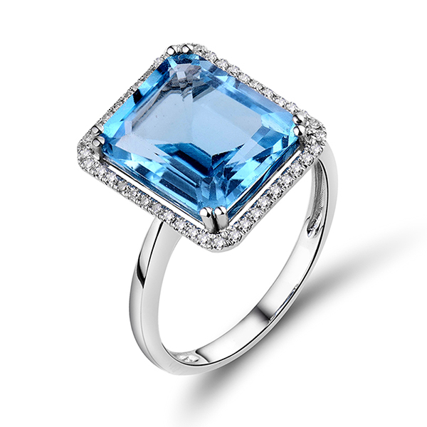 luxury emerald cut 695 ct topaz diamond engagement ring white gold - Blue Topaz Wedding Rings