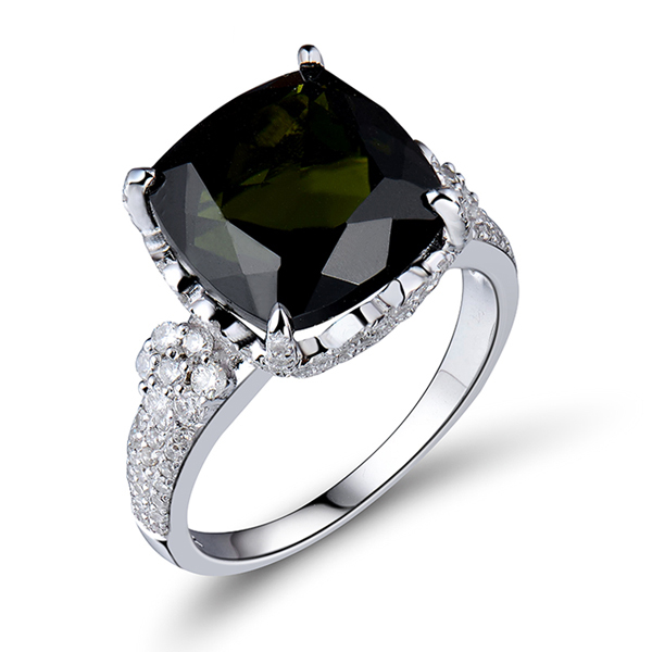 Fancy 7.30 CT Cushion Green Tourmaline Engagement Ring 0.86 CT Diamonds