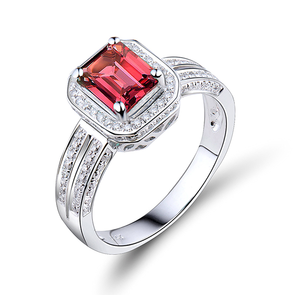 Emerald Cut 2.14 CT Tourmaline Diamond Engagement Ring White Gold