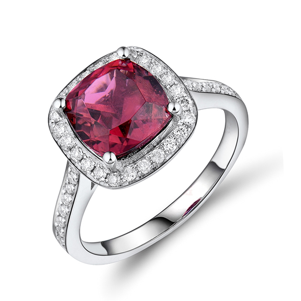 Luxury 3 CT Cushion Tourmaline Diamond Engagement Ring 18K White Gold