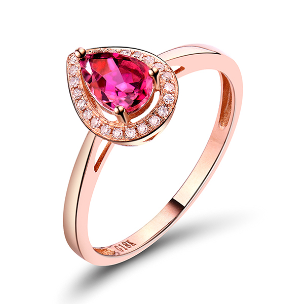 Petite 0.69 CT Pear Cut Tourmaline Engagement Diamond Ring in Rose Gold