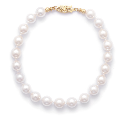 "7"" 6.5-7mm Grade AAA Cultured Akoya Pearl Bracelet"