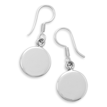 12mm Round Engravable Tag Earrings on French Wire