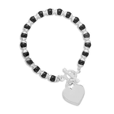 "7.5"" Black Onyx Toggle Bracelet with Heart Tag"