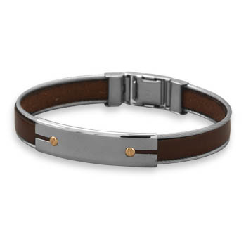 "7.5"" Stainless Steel and Leather Men's Bracelet with 18 Karat Gold Accents"
