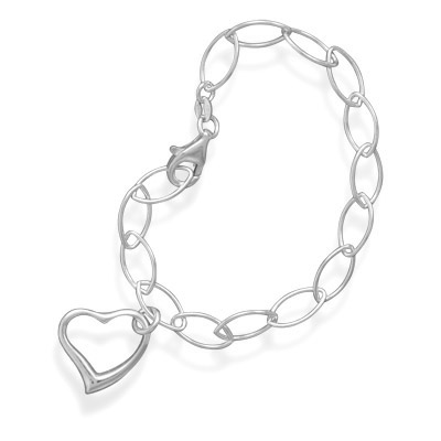 "7.5"" Link Bracelet with Heart Charm"