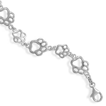 "7.5"" Cut Out Paw Print Bracelet"