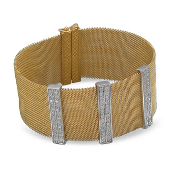 "6.75"" 14 Karat Gold Plated Mesh Bracelet with CZs"