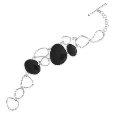 "7.25"" Freeform Black Onyx Toggle Bracelet"