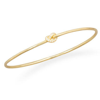14 Karat Gold Plated CZ Knot Bangle