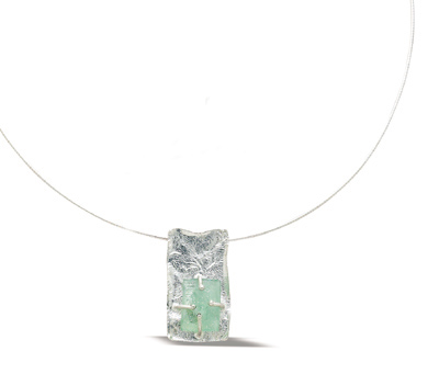 "16"" Textured Rectangle with Ancient Roman Glass Necklace"
