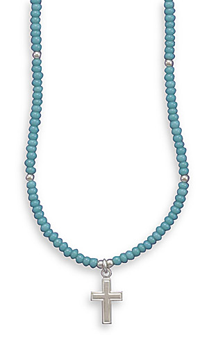 "13""+2""Extension Turquoise Glass Bead Necklace with Cross Charm"