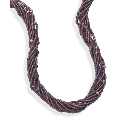"18.5""+3"" Multistrand Glass Bead Necklace"