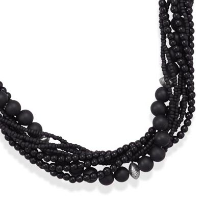"18""+3"" Multistrand Black Onyx and Glass Bead Necklace"