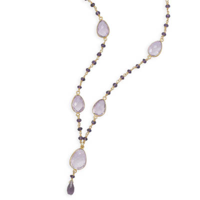 "18"" 14 Karat Gold Plated Amethyst Necklace"