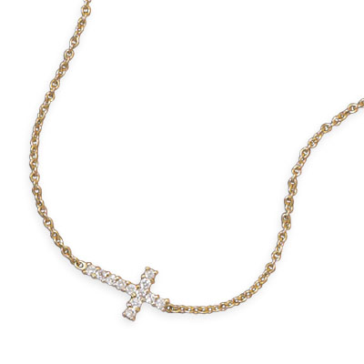"16"" 14 Karat Gold Plated Necklace with CZ Cross"