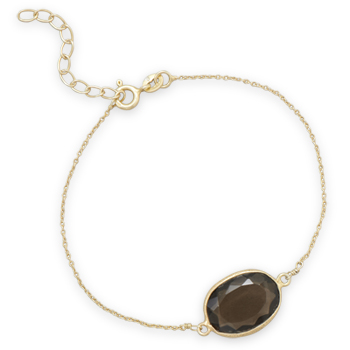 "7""+1"" 14 Karat Gold Plated Smoky Quartz Bracelet"
