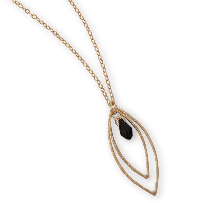 "16"" + 2"" 12/20 Gold Filled Necklace with Black Glass Briolette Drop"
