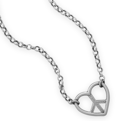 "16"" + 2"" Heart with Peace Sign Necklace"