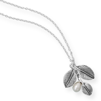 "16"" Oxidized Leaf Necklace with Cultured Freshwater Pearl"