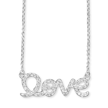 "16"" CZ ""love"" Necklace"