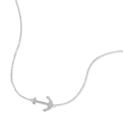 "16"" + 2"" Rhodium Plated Sideways Anchor Necklace?"