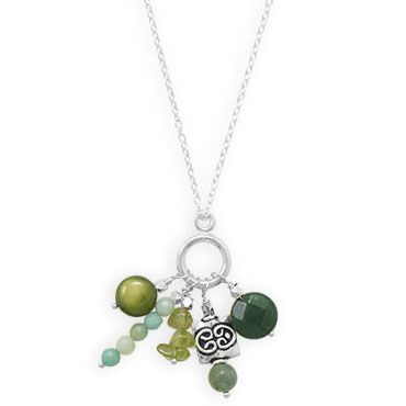 "16"" Handmade Shades of Green Necklace"