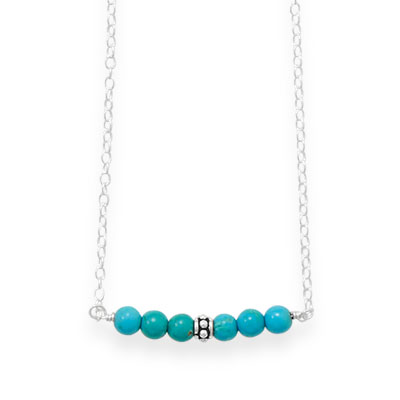 "16"" Handmade Turquoise Bar Necklace"