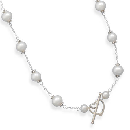 "16"" White Cultured Freshwater Pearl Heart Toggle Necklace"