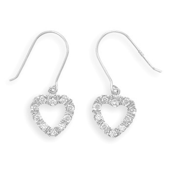 Rhodium Plated Cut Out Heart CZ French Wire Earrings