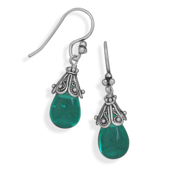 Aqua Glass Drop Earrings on French Wire