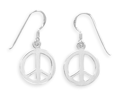Peace Sign French Wire Earrings