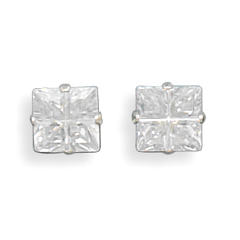 6mm 4 Cut Square CZ Earrings