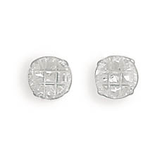 5mm 9 Cut Round CZ Earrings