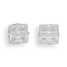 5mm 9 Cut Square CZ Earrings