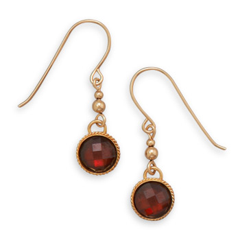 12/20 Gold Filled Red Glass Drop Earrings
