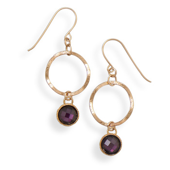 12/20 Gold Filled Open Circle Earrings with Faceted Glass Drop