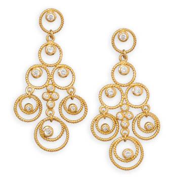 karat gold plated cz chandelier earrings