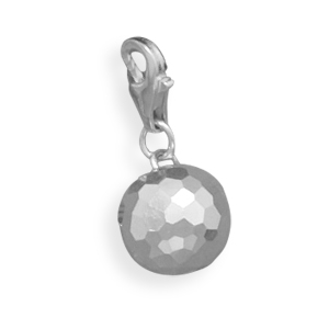 Faceted Sterling Silver Bead Charm with Lobster Clasp
