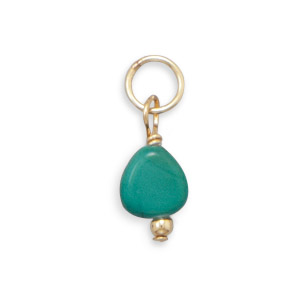 14/20 Gold Filled Turquoise Nugget Charm - December Birthstone