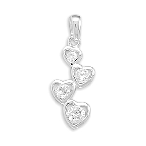 CZ Four Heart Drop Pendant