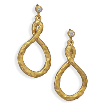 14 Karat Gold Plated Brass Earrings with CZ